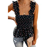 MISSACTIVER Women's Solid Cute Smocked Tank Tops Sexy Cami Sleeveless Tops Blouse