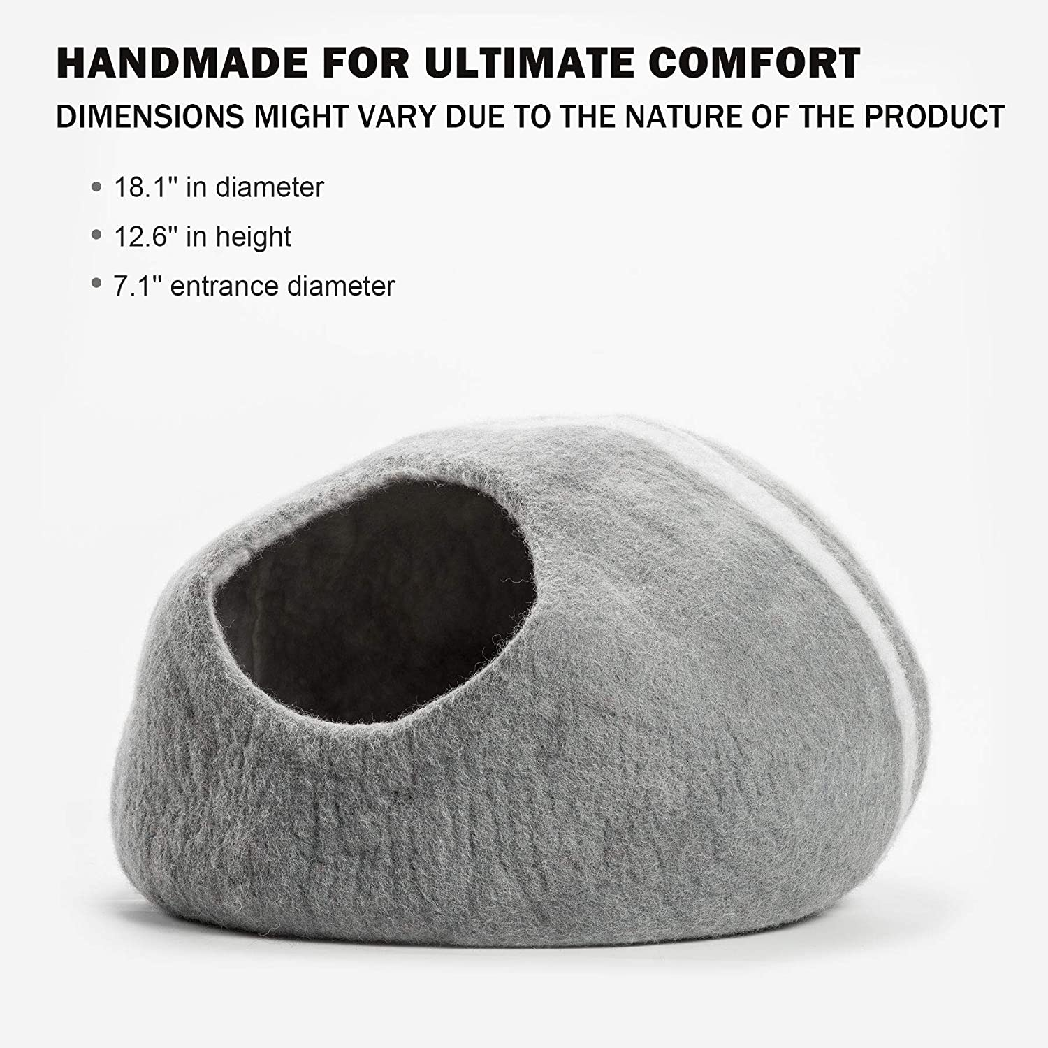 Amazon.com : CO-Z Handcrafted Cat Cave Bed (Large), Felted from 100% Natural Wool, Handmade Furniture for Cats and Kittens, Warm & Cozy Cat Bed (Grey) : Pet ...