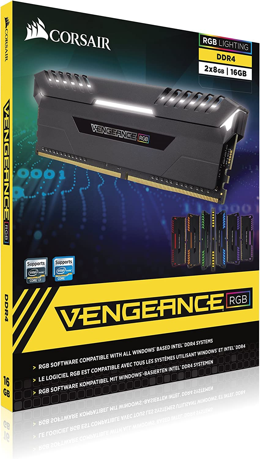 CORSAIR Vengeance RGB 16GB (2x8GB) DDR4 3000MHz C16 Desktop Memory - Black