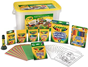 Amazon Com Crayola Super Art Coloring Kit Tub Colors Vary Amazon Exclusive 100 Pcs Gift For Kids Toys Games