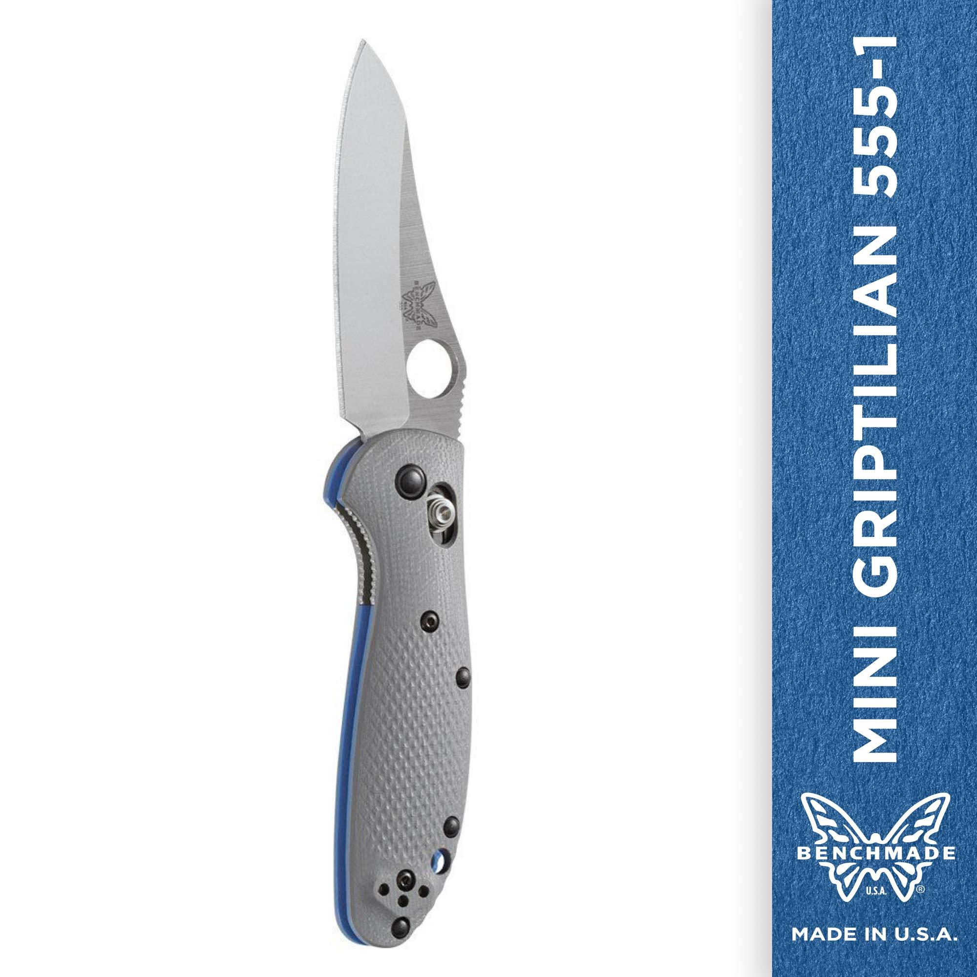 Benchmade - Mini Griptilian 555-1, Plain Sheepsfoot, Satin Finish, Gray Handle by Benchmade (Image #1)
