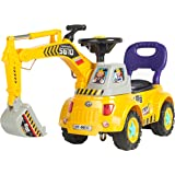 Best Choice Products Excavator Digger Scooter Pulling Cart with Pretend Play Construction Truck