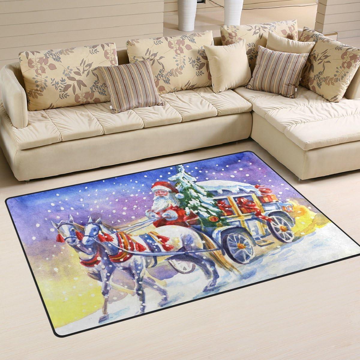 coosun Papá Noel en carruaje con caballo área alfombra alfombra alfombra de suelo antideslizante Doormats para salón o dormitorio, tela, multicolor, 60 x 39 inch,152.4 x 99.1 cm