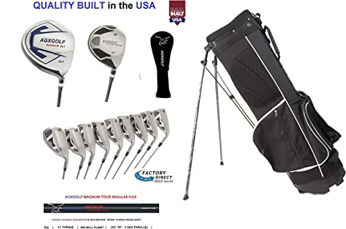AGXGOLF Mens XS Golf Club Set Choose Length 460Ccc Graphite Driver, 3 Wood, 3-9 Irons, PW SW, Putter Stand Bag Right Hand