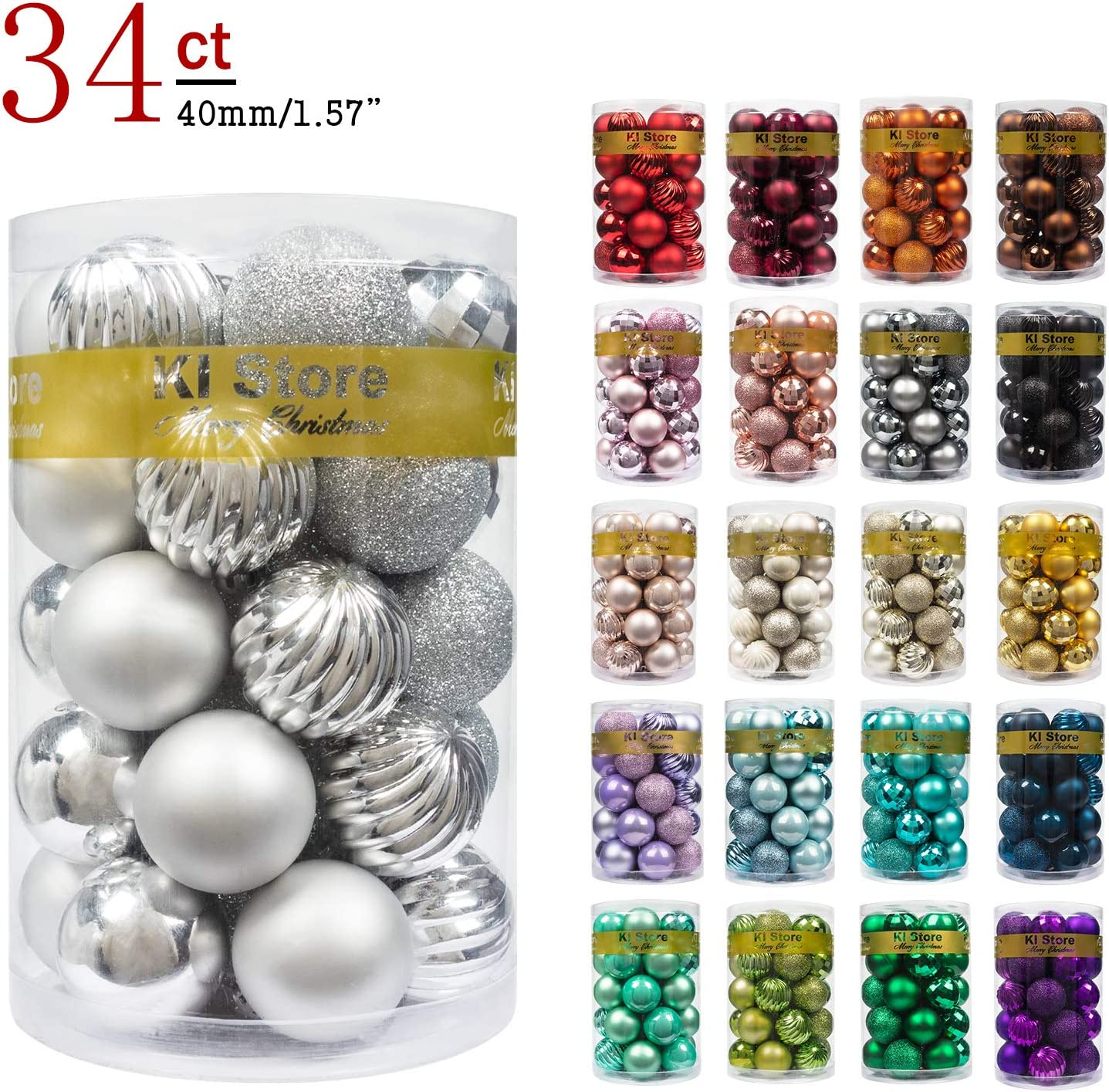 """KI Store 34ct Christmas Ball Ornaments 1.57"""" Small Shatterproof Christmas Decorations Tree Balls for Holiday Wedding Party Decoration Tree Ornaments Hooks Included (40mm Silver)"""