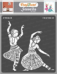 CrafTreat Indian Dance Stencils for Painting on Wood - Indian Classical Dance Stencil - 12x12 Inches -DIY Home Decor Stencils Indian Design - Dancer Stencils for Painting Walls - Indian Art Stencils