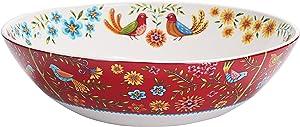 Bico Red Spring Bird Ceramic 13 inch Serving Bowl, Microwave & Dishwasher Safe