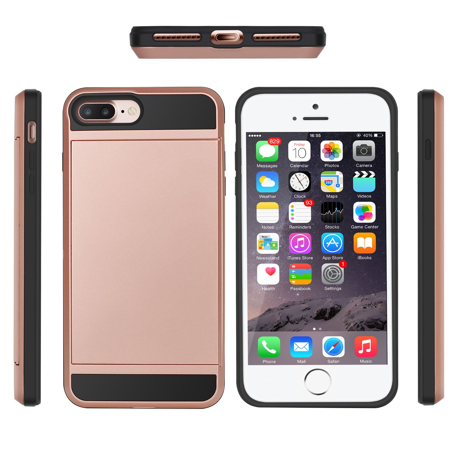 iphone 8 Plus Case,iPhone 7 Plus Case,JWCTECH iphone 8 Plus Cases Wallet Card Holder Bumper Case Dual Layer Cover and Flexible TPU Case for Apple iPhone 7 Plus/8 Plus (5.5inch) - Rose Gold