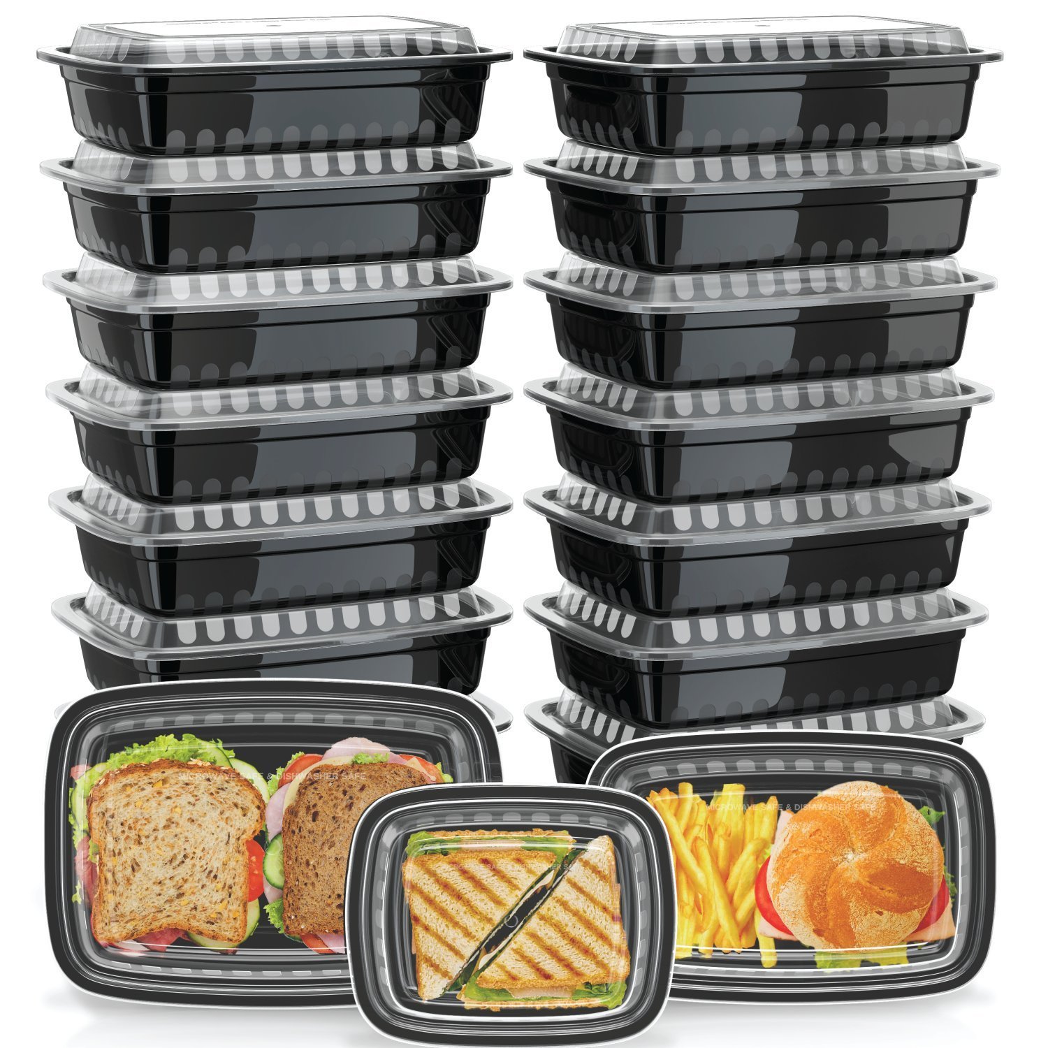 Green Label [30 Pack] Assorted Meal Prep Containers [3 Sizes] with Lids, for Cooking and Food Storage, Microwavable, Stackable, Dishwasher and Freezer Safe, One Single Compartment, Variety Set, Black