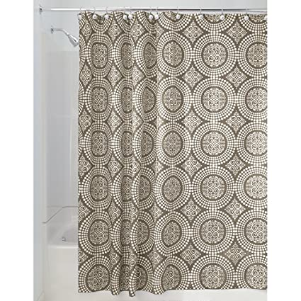 InterDesign Medallion Shower Curtain 72 By Inch White Taupe
