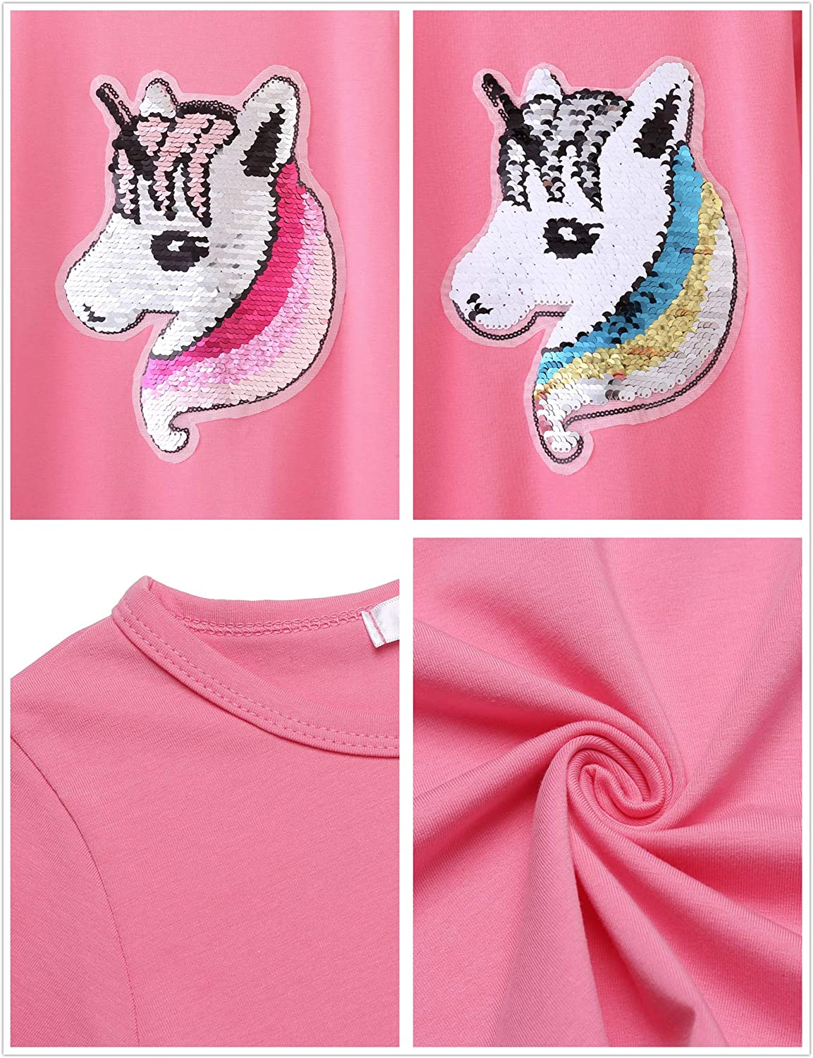 Girls Cotton Dress Short /& Long Sleeves Casual Summer Flip Sequin Unicorn T-Shirt Dresses