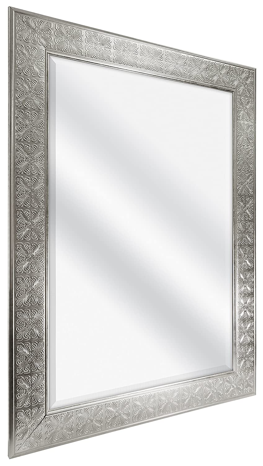 MCS 24×36 Inch Stamped Medallion Wall Mirror, 32×44 Inch Overall Size, Champagne Silver 47700 , 32 by 44-Inch,
