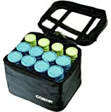 Conair Instant Heat Compact Hot Rollers W/Ceramic Technology; Black Case With Blue And Green Rollers