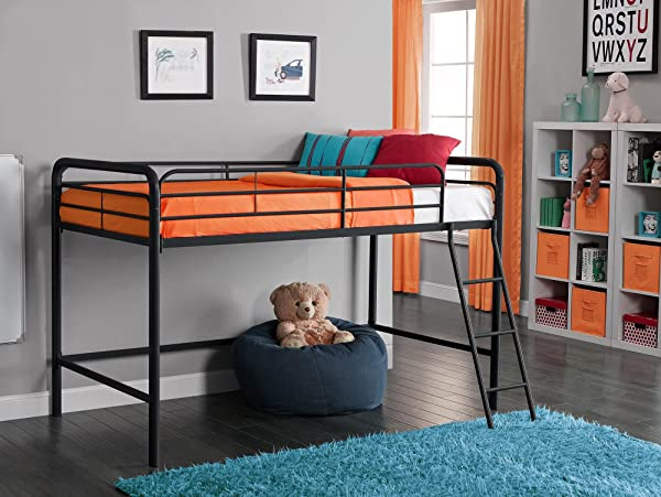 DHP Junior Loft Bed Frame With Ladder, Multifunctional Space-Saving Design, Black