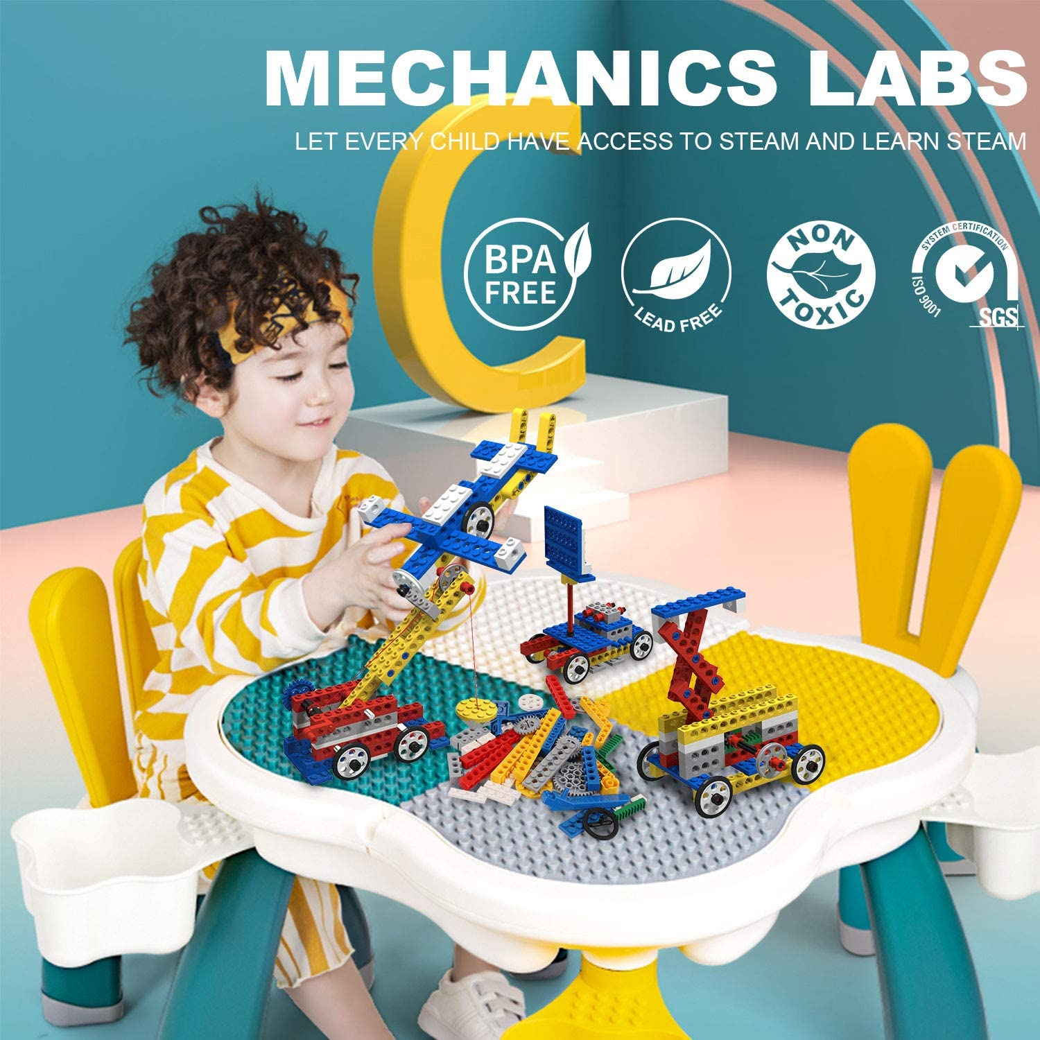 Age 6+ Sirarda STEM Building Blocks 135 Pieces Building Bricks with Gears Axles Pulleys Cranks People Figures Educational Toys with Brick Book Compatible with All Major Brands in 7 Vibrant Colors