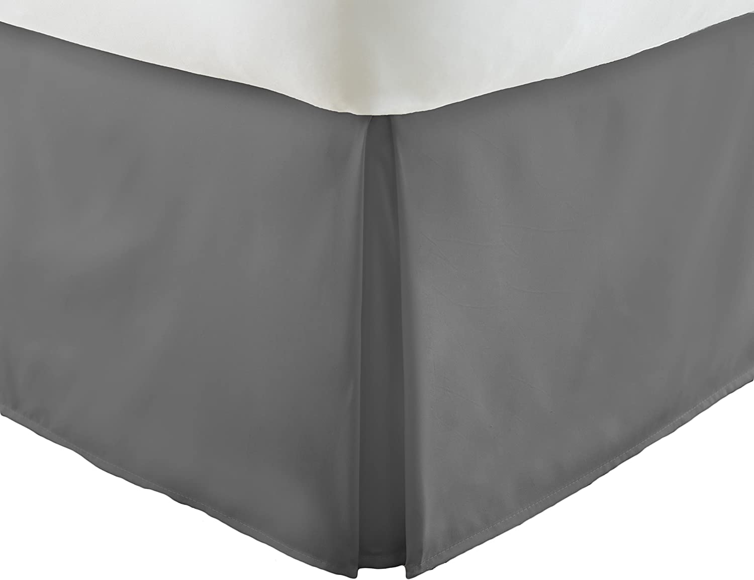 Simply Soft Pleated Bed Skirt, King, Gray