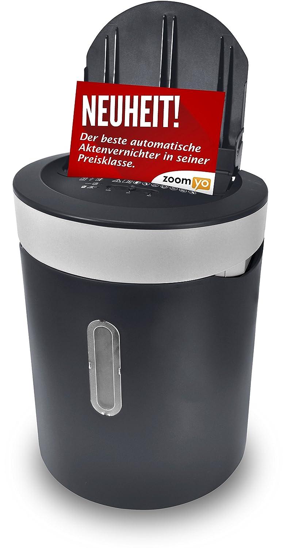 Zoomyo Automatik Aktenvernichter Automatischer Einzug für bis zu 50 Blatt | Kreuzschnitt | Sicherheitsstklasse P-4 geeignet zur Datenschutzgrundverordnung DSGVO 2018 | Papier & Kreditkarten | Autofeed AFS21-A