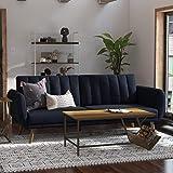 Novogratz Brittany Sofa Futon - Premium Upholstery and Wooden Legs - Navy Blue