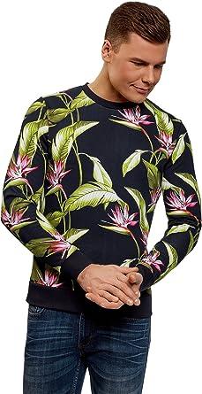 TALLA S. oodji Ultra Hombre Suéter con Estampado Floral