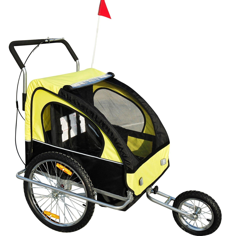 2 In 1 Jogger Fahrradanhänger Kinderwagen Kinderanhänger Fahrrad