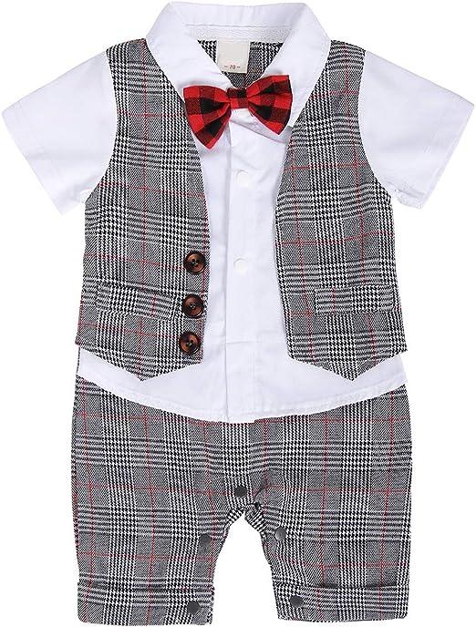 Baby Boy Formal Outfit Tuxedo Plaid Gentleman Suit Onesie Jumpsuit