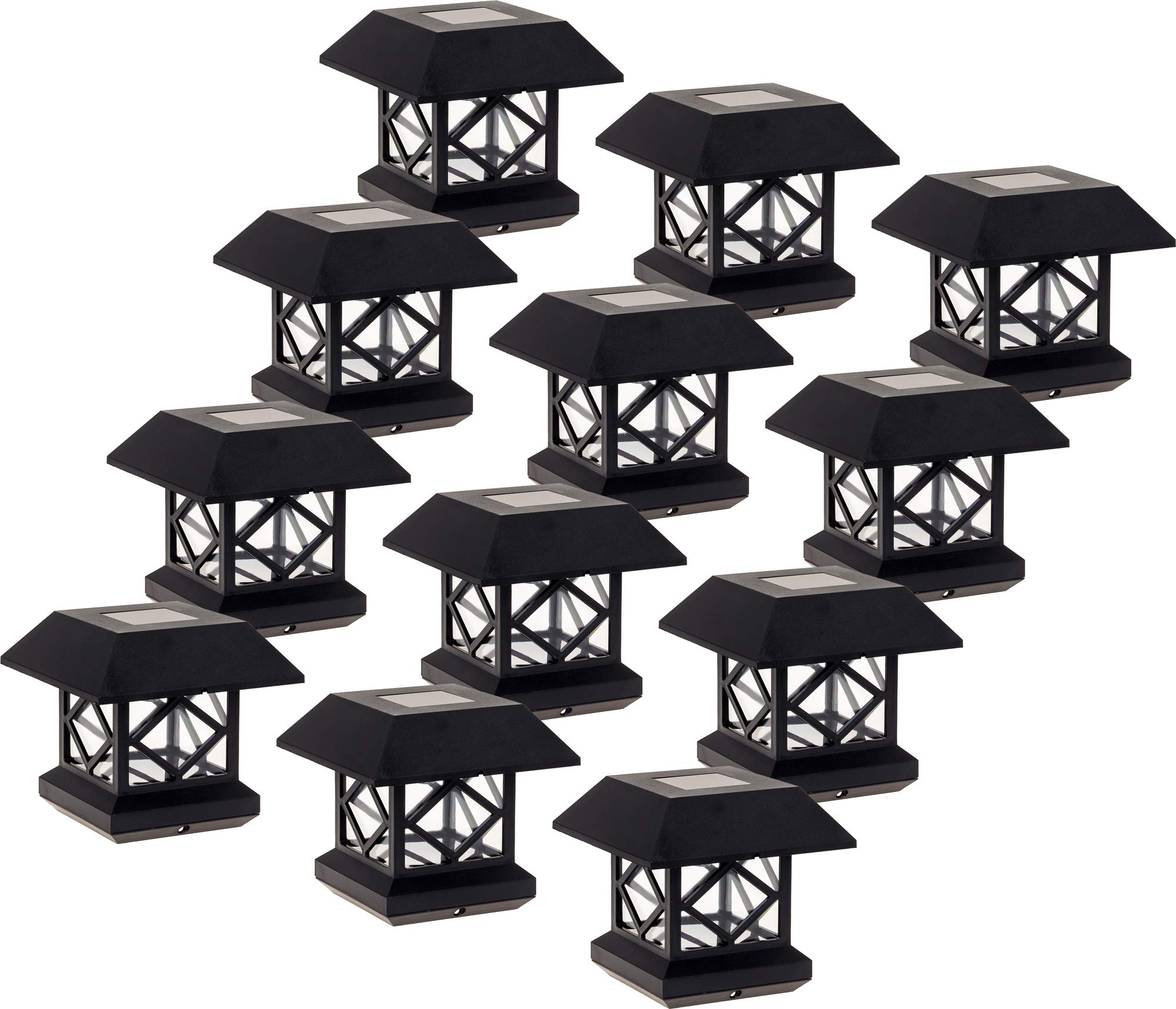 GreenLighting Outdoor Summit Solar Post Cap Light for 4x4 Wood Posts 12 Pack (Black)