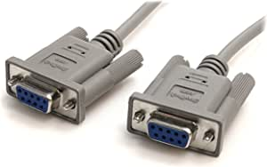 StarTech.com 10-Feet DB9 RS232 Serial Null Modem Cable F/F (SCNM9FF), Gray