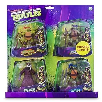 Tortugas Ninja - Pack de 4 figuras, 14 cm (Giochi Preziosi 90610), colores surtidos
