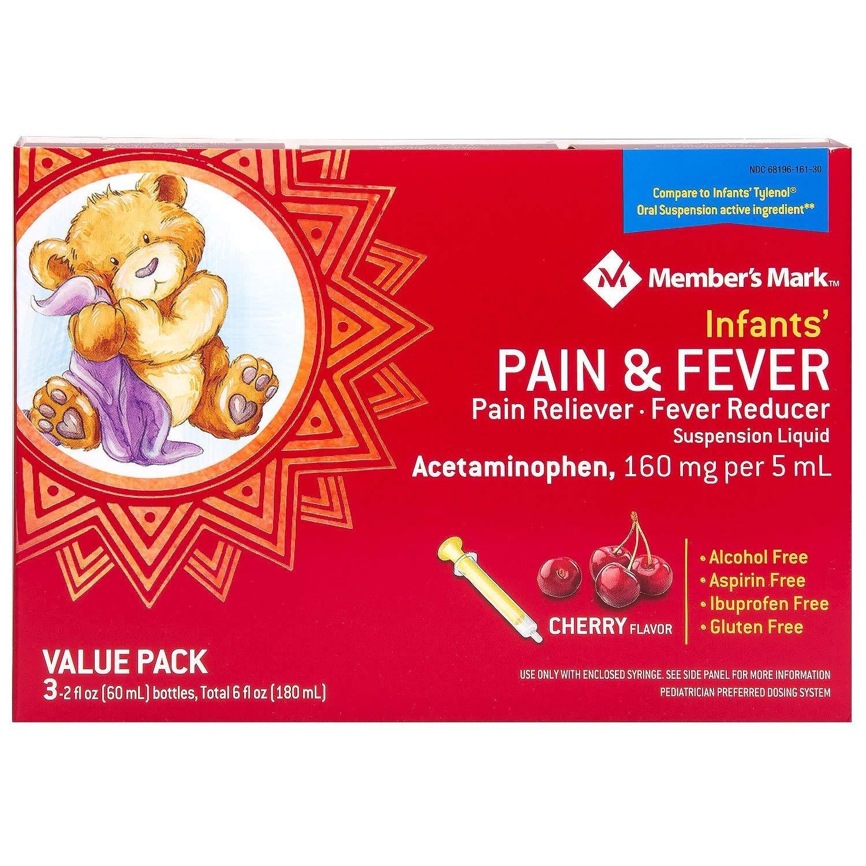 Member's Mark Infants' Pain & Fever Suspension Liquid, Cherry (2 fl. oz., 3 pk.)