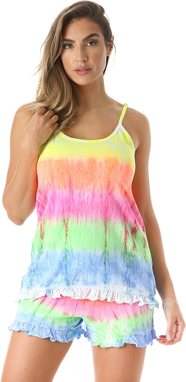 Just Love Tie Dye Pajama Short Set with Ruffle Detail 812g57ihJKL