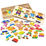 Lewo Wooden Puzzles Girls Toys Bear Family Dress Up Puzzle Games for Kids 72 Pieces