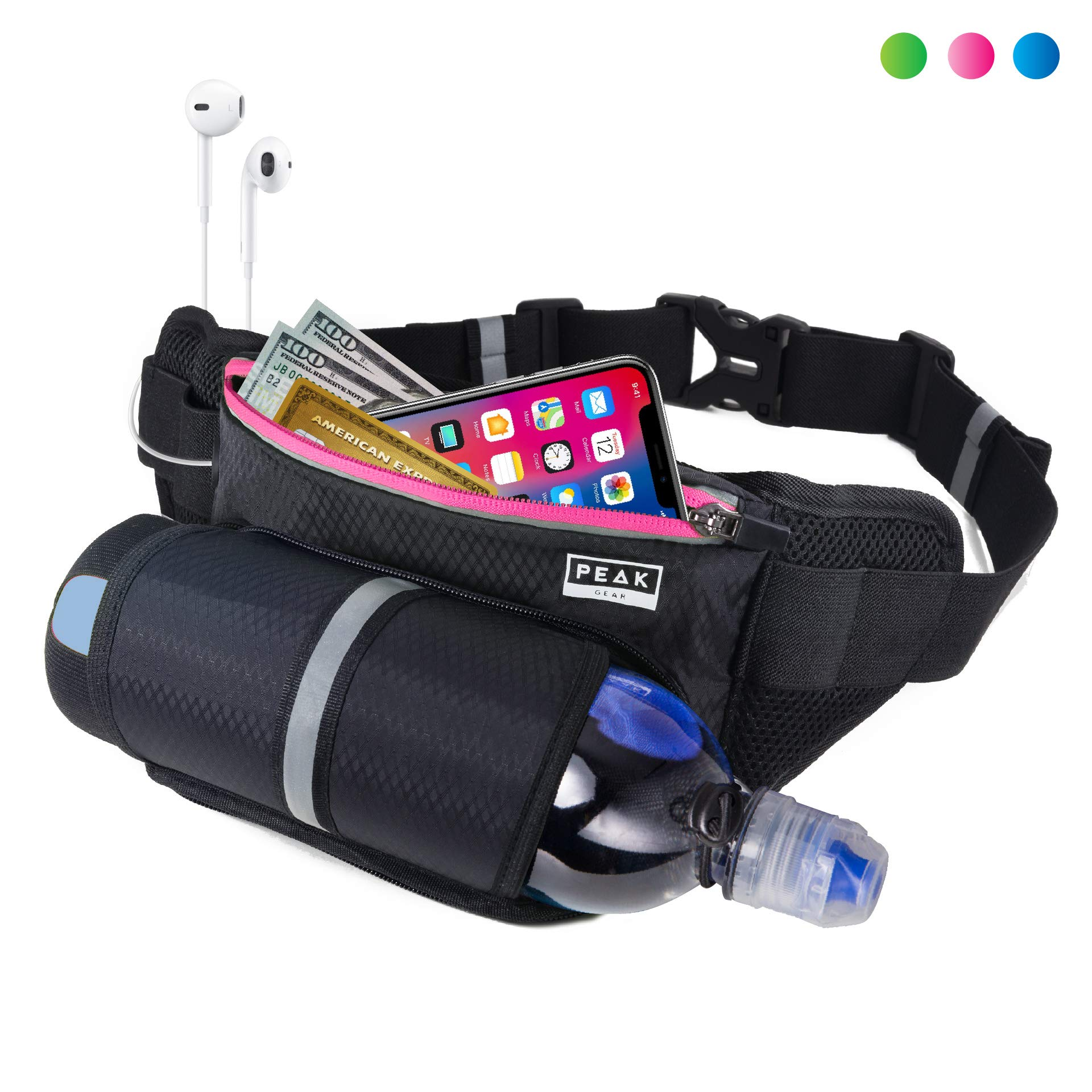 Peak Gear Waist Pack and Water Bottle Belt - New Larger Size - Hydration Fanny Pack for Jogging, Walking or Hiking (Pink Zipper) by Peak Gear