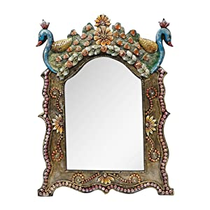 999Store Vintage Hand Crafted Decorative Wood Wall Mirror (45.99 cm x 2 cm x 60.5 cm)