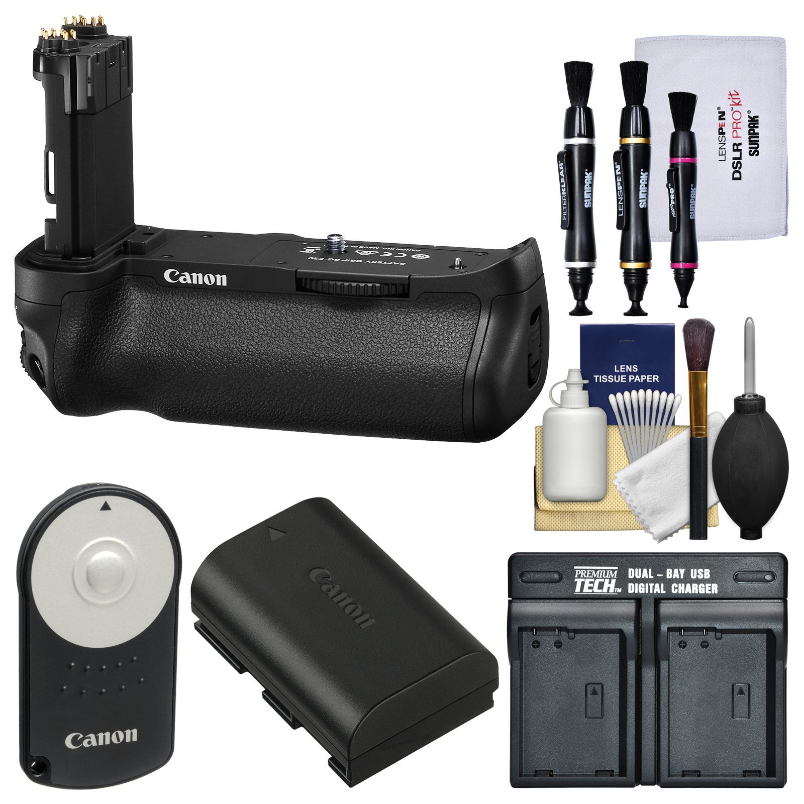 Canon BG-E20 Battery Grip for EOS 5D Mark IV Digital SLR Camera with LP-E6 Battery & Dual Charger + Remote Kit
