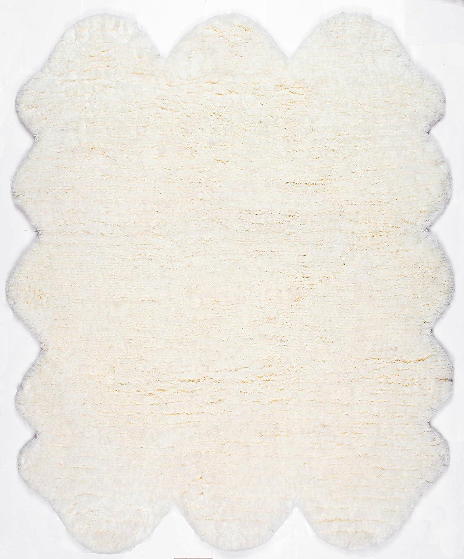2-Feet X 4-Feet 5 nuLOOM 200HCSOH-2045 Hand-Tufted Faux Sheepskin One and A Half Piece Natural Shag Rug