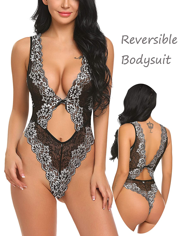 Amazon.com  ADOME Women Sexy Lingerie One Piece Teddy Lace Babydoll Deep V  Bodysuit  Clothing 1443add76