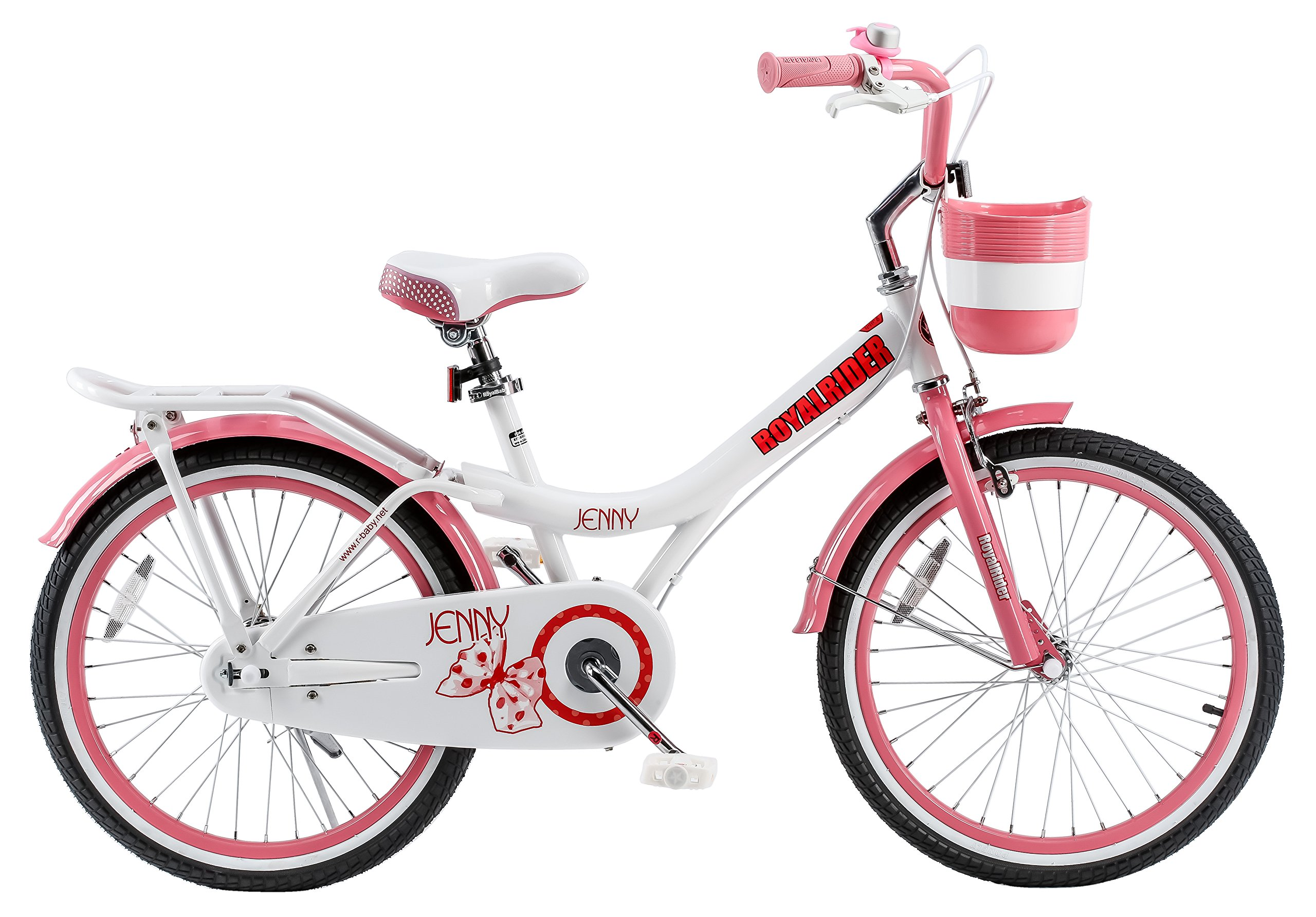 RoyalBaby Jenny Princess Pink Girl's Bike with Kickstand and Basket, White/Pink by Royalbaby