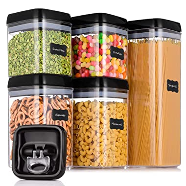 ME.FAN Large Airtight Food Storage Container Set [5-Piece Set] - Pantry Durable Seal Pot - Cereal Storage Containers - 24 Chalkboard Label - BPA Free - Clear Containers with Black Lids