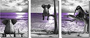 "ARTZWPENG Black and White African Animal Resting Elephant Look Moon Purple Sea Wall Art Contemporary Canvas Print Decorations for Living Room Office Bedroom Decor(12""x16""x3pcs Framed)"
