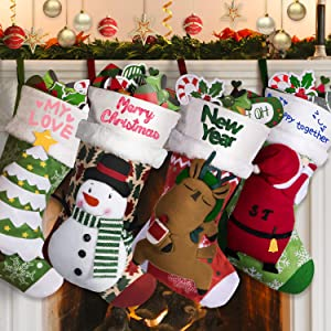 "Joyjoz Personalized Christmas Stockings 4Packs with 3 Coloured Pens, 18"" Xmas Big Stockings with Santa, Snowman, Elk, Christmas Tree, Handmade, 3D Plush for Christmas Decorations"