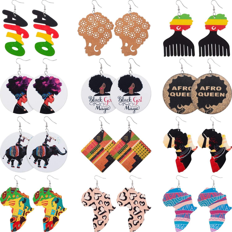 KISSFRIDAY Teadrop African Women Earrings Wooden Painted Earrings Ethnic Style Earring,black