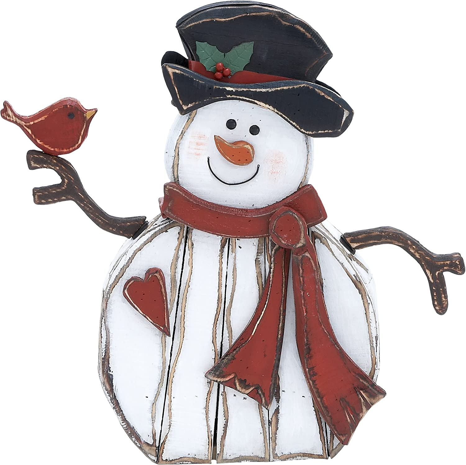 Plutus Brands Adorable Wood Carved Snowman