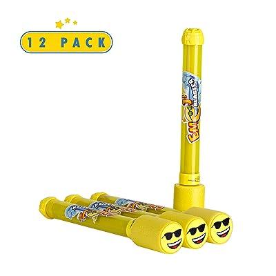 Toyrifik 12 Pack Emoji Blaster Water Guns-Bulk Pack Water Shooters for Summer Party Favor or Activity Fun Gun for Kids- Water Gun Bundle Pack: Toys & Games