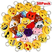 Dreampark Emoji Keychains, Mini Emoji Plush Party Favors for Kids Christmas Birthday Party Supplies, Carnival Prizes for Kids