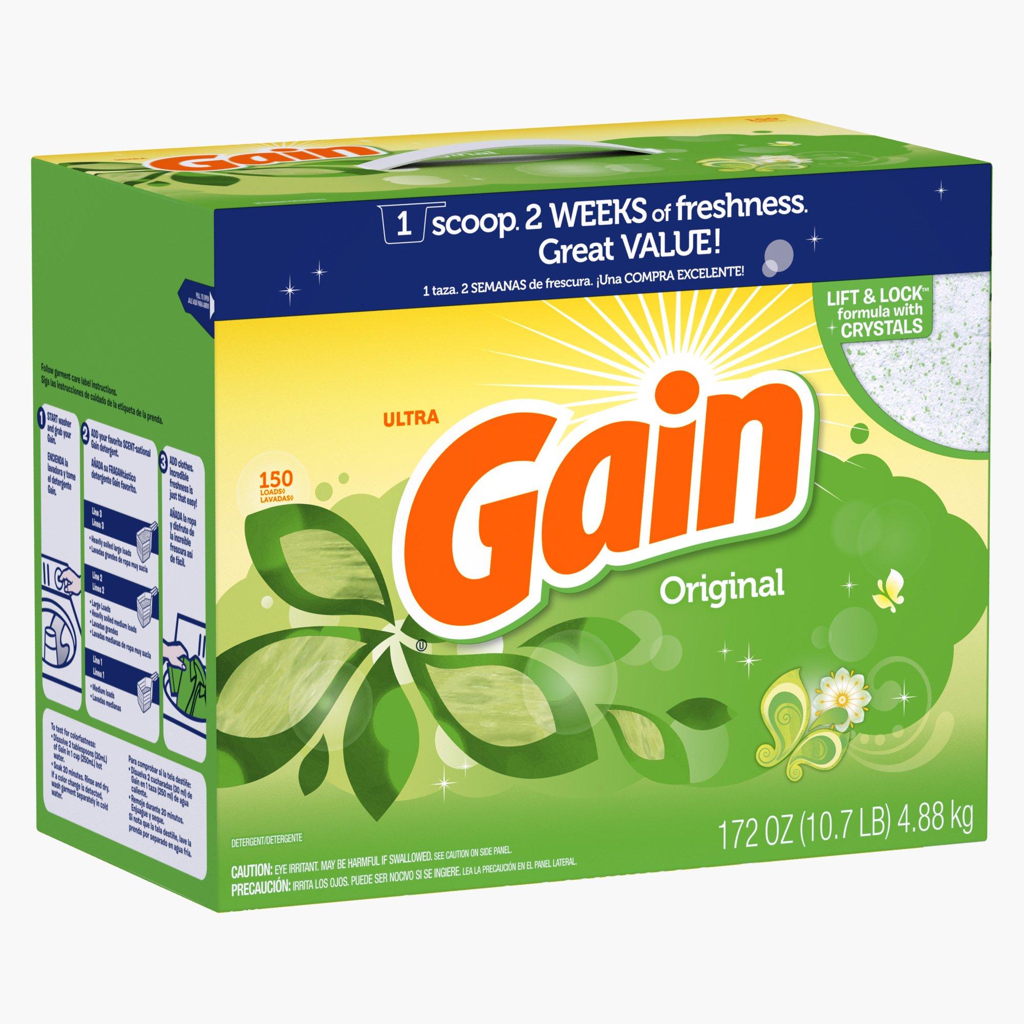 Gain With Freshlock Original Powder Laundry Detergent, 150 Loads, 172 Oz