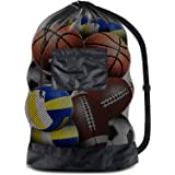 BROTOU Extra Large Sports Ball Bag Mesh Socce Ball Bag Heavy Duty Drawstring Bags Team Work for Holding Basketball, Volleybal
