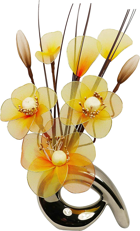 Dise/ño de flores de Mini 793166 32 cm hanega Artificial jarr/ón con dise/ño de espiral naranja//amarillo//negro