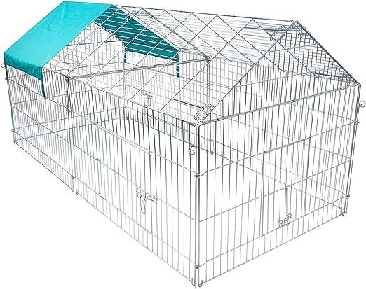 Elightry Jaula para Conejos Conejeras Hamster Cobayas Gallinero Jaula Exterior Recinto Animales Pequeños para Jardines y Patios 220 * 103 * 85 cm XTSL0011: Amazon.es: Productos para mascotas