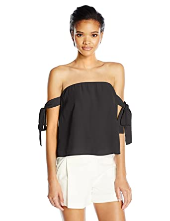 6cf22c1548d Lucca Couture Women's Off Shoulder Tie Sleeve Top at Amazon Women's  Clothing store: