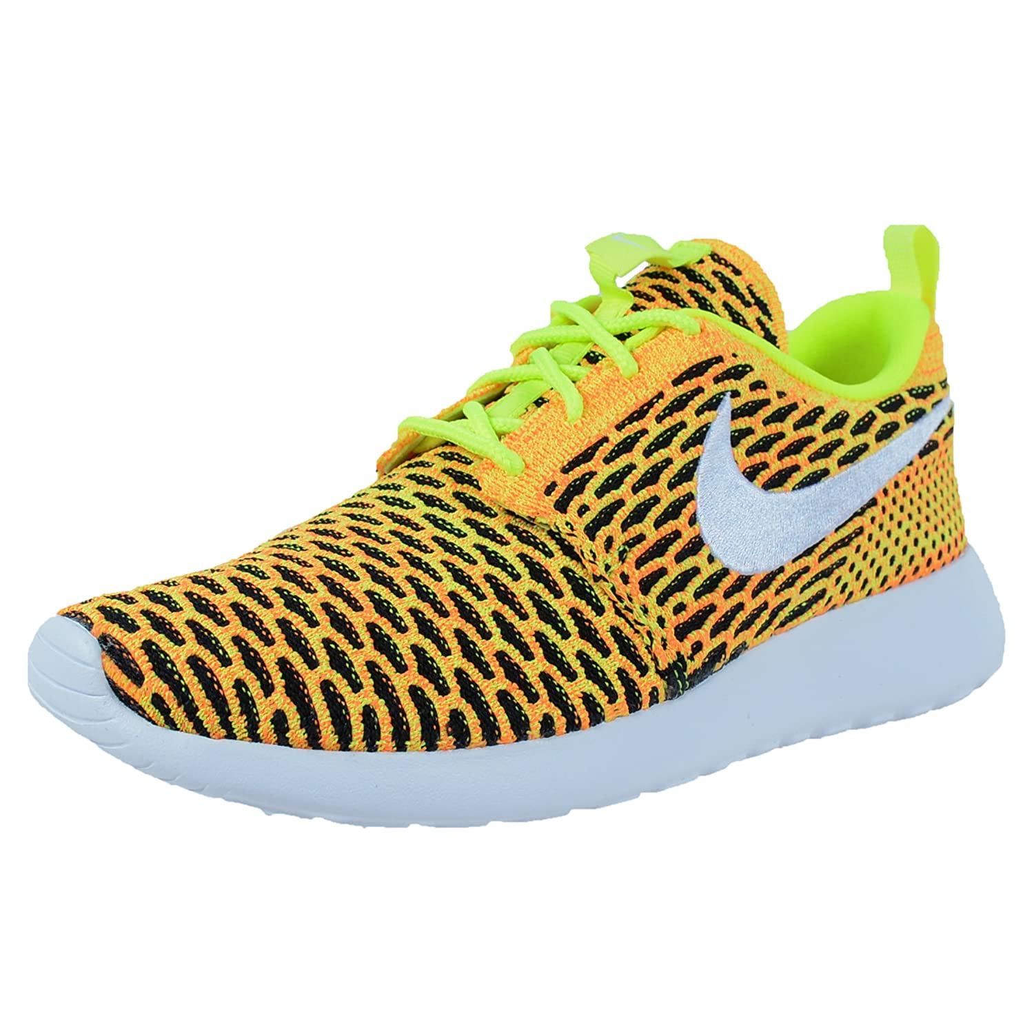 new style d9740 a58d0 85%OFF NIKE WOMENS ROSHE ONE FLYKNIT CASUAL SHOES VOLT WHITE TOTAL ORANGE  704927 702